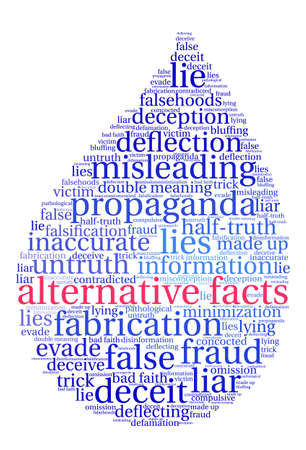 bad news: Alternative Facts word cloud on a white background. Illustration