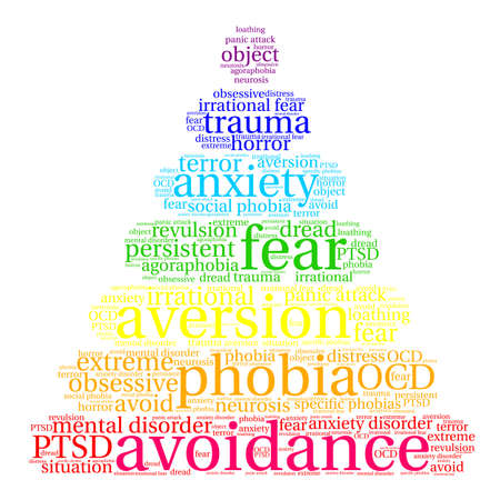 bad news: Avoidance word cloud on a white background.