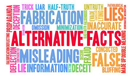 Alternatieve feiten woordwolk op een witte achtergrond. Stockfoto - 84257488