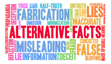 Alternative Facts word cloud on a white background. Ilustração