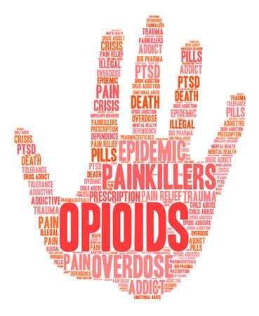 Opioïdenwoordwolk op een witte achtergrond. Vector Illustratie