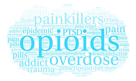 Opioids word cloud on a white background. Фото со стока - 84257419