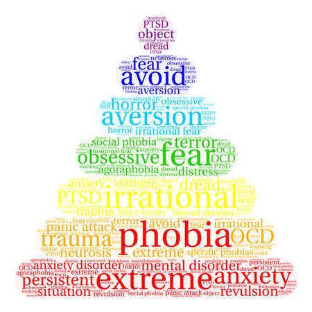 revulsion: Phobia word cloud on a white background. Illustration