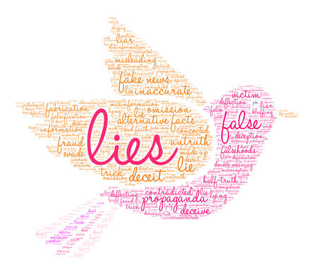 Lies word cloud on a white background. Çizim