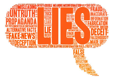 compulsive: Lies word cloud on a white background. Illustration