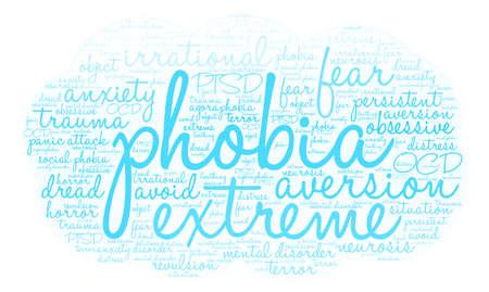 Phobia word cloud on a white background. Ilustração