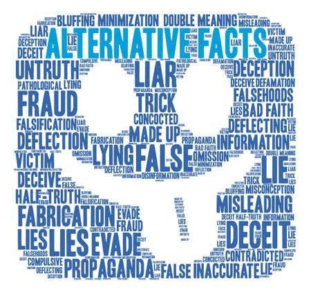 Nube de la palabra de los hechos alternativos en un fondo blanco. Foto de archivo - 84257470