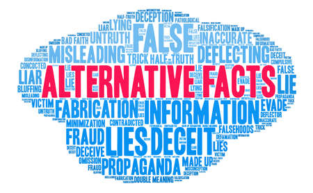double bad: Alternative Facts word cloud on a white background.