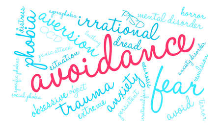 avoidance: Avoidance word cloud on a white background.