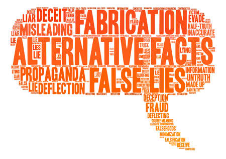 bad news: Alternative Facts word cloud on a white background.