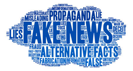 Fake News word cloud on a white background. Stok Fotoğraf - 84319680