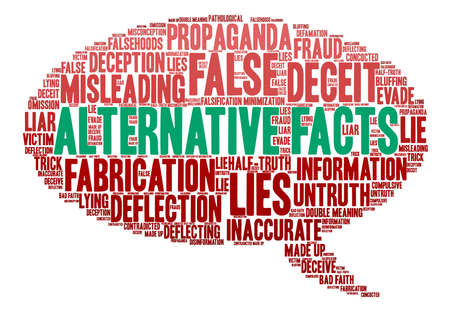defamation: Alternative Facts word cloud on a white background. Illustration