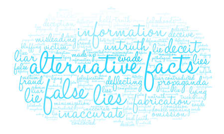 Alternative Facts word cloud on a white background. Stok Fotoğraf - 84279803