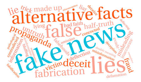 Fake News word cloud on a white background.