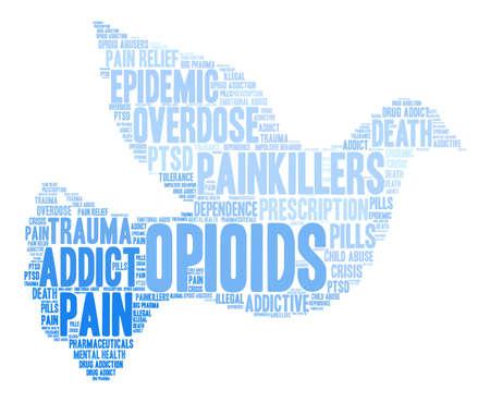 Opioïdenwoordwolk op een witte achtergrond.