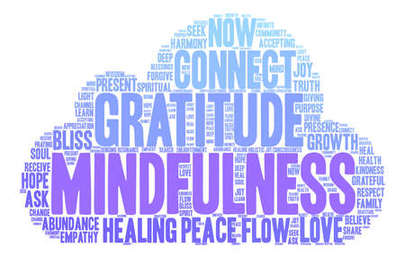흰색 배경에 Mindfulness 단어 구름입니다. 일러스트