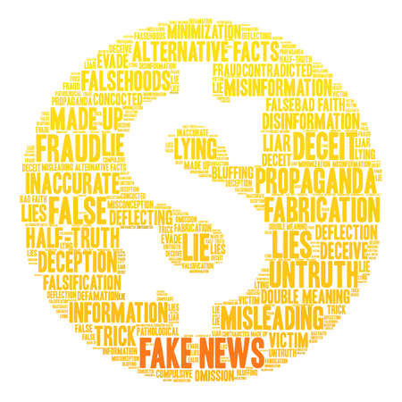 bad news: Fake News word cloud on a white background.