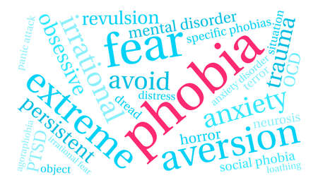 Phobia word cloud on a white background. 向量圖像