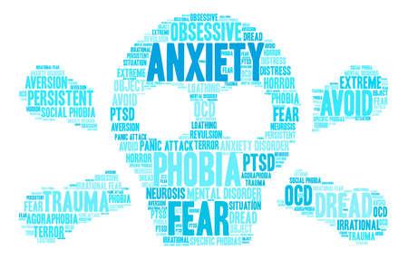 Anxiety word cloud on a white background. Ilustração