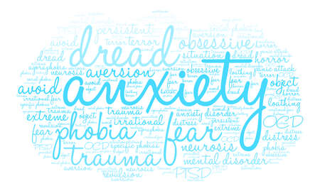 Anxiety word cloud on a white background. 向量圖像