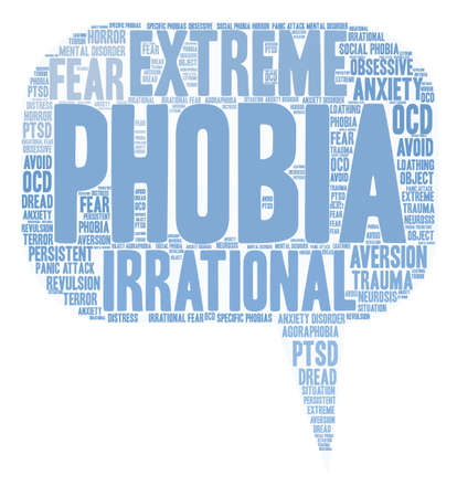 Phobia word cloud on a white background. Иллюстрация