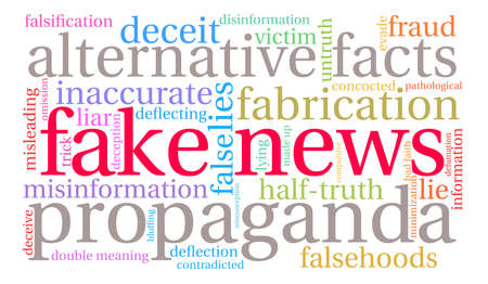 double bad: Fake News word cloud on a white background.