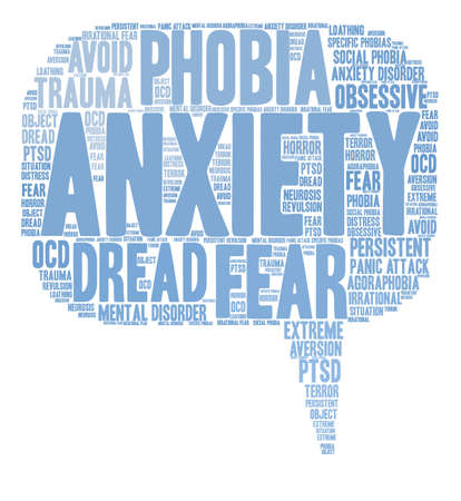 Anxiety word cloud on a white background. Иллюстрация