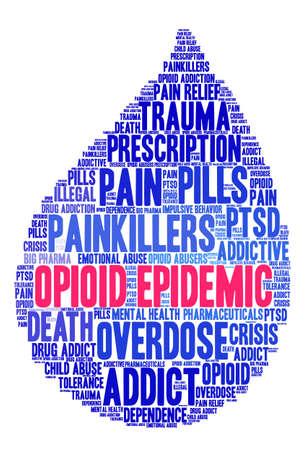 Opioid Epidemic word cloud on a white background.  Illusztráció