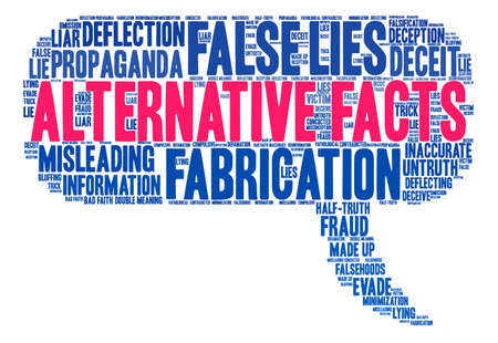 Alternative Facts word cloud on a white background. Ilustrace