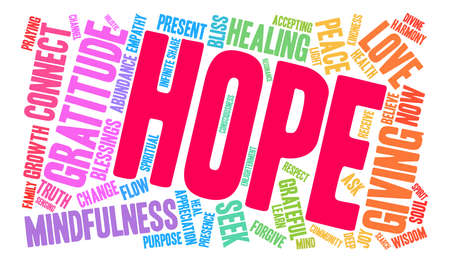 reiki: Hope word cloud on a white background.