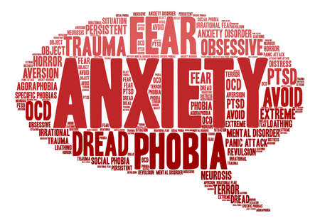 revulsion: Anxiety word cloud on a white background. Illustration