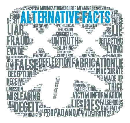 Nube de la palabra de los hechos alternativos en un fondo blanco. Foto de archivo - 84319741