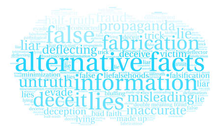 Alternative Facts word cloud on a white background. Çizim