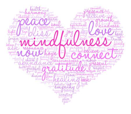 Mindfulness woord wolk op een witte achtergrond. Stockfoto - 84320127
