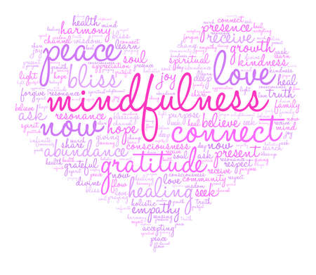 Mindfulness word cloud on a white background. Banco de Imagens - 84320127