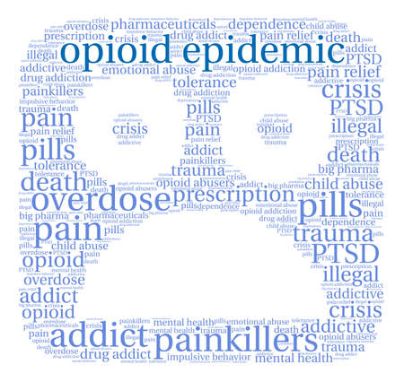 Opioid Epidemic word cloud on a white background. Фото со стока - 84320134