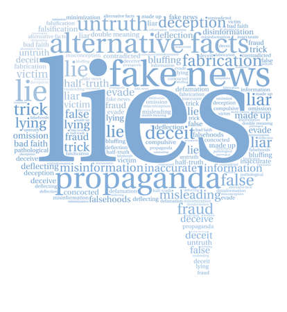 double bad: Lies word cloud on a white background. Illustration