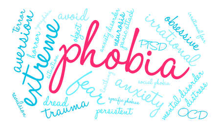 Phobia word cloud on a white background. Illustration