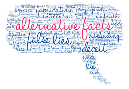 double bad: Alternative Facts word cloud on a white background. Illustration