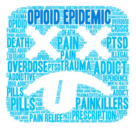 Opioid Epidemic word cloud on a white background.