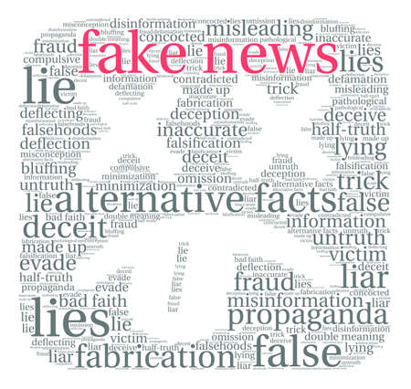 Fake News word cloud on a white background. Stok Fotoğraf - 84345352