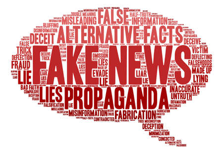 Fake News word cloud on a white background. Stok Fotoğraf - 84345356