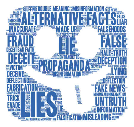 Lies word cloud on a white background. Illustration