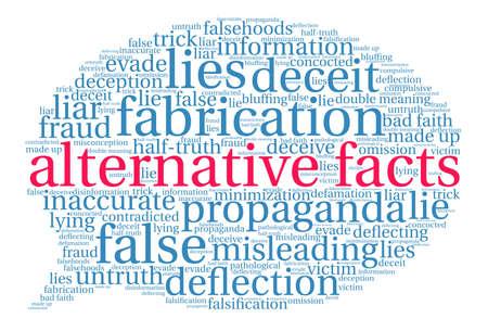 Nube de la palabra de los hechos alternativos en un fondo blanco.