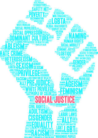 Social Justice word cloud. 矢量图像