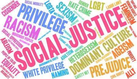 黒の背景に社会正義の単語の雲。  イラスト・ベクター素材