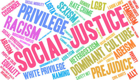 Social Justice word cloud on a black background. 向量圖像