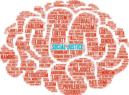 社会正義の単語の雲。  イラスト・ベクター素材