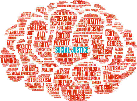 Social Justice word cloud. Illustration