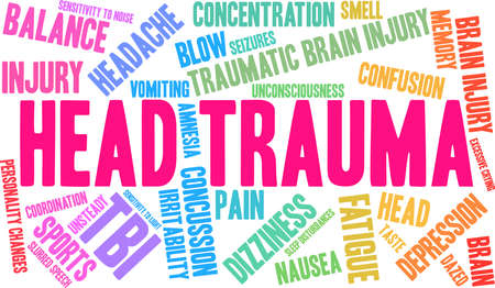 Head Trauma word cloud. Illustration
